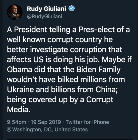 Rudy Giuliani confesses on Twitter