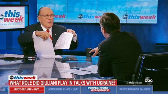 Rudu Giuliani waved papers around while trying to cover for Trump on the Sunday news shows.