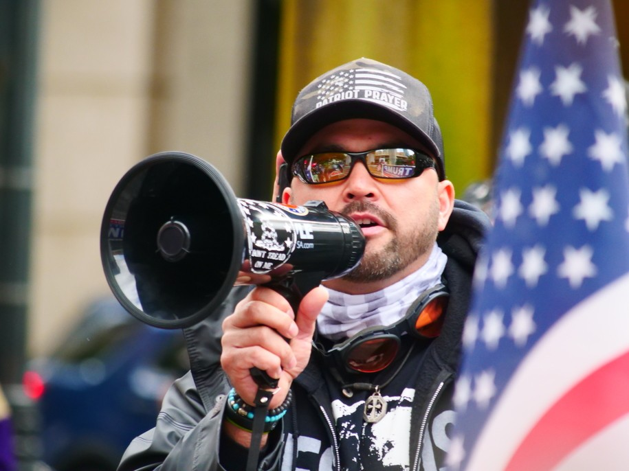 Joey Gibson's rotating cast of followers has a history of violent extremists and white nationalists