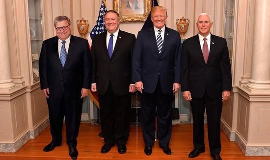 Image result for trump, barr, pompeo together in pics