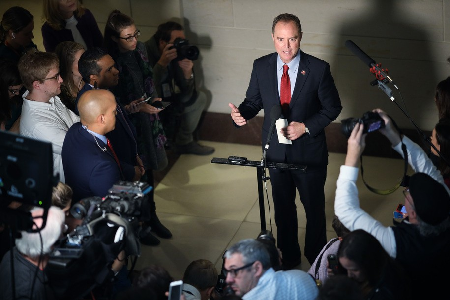 WASHINGTON, DC - OCTOBER 08: Rep. Adam Schiff (D-CA), Chairman of the House Select Committee on Intelligence Committee speaks at a press conference at the U.S. Capitol on October 08, 2019 in Washington, DC. Schiff spoke on reports that the Trump administration has blocked the testimony of U.S. Ambassador to the European Union Gordon Sondland in the House impeachment inquiry. (Photo by Win McNamee/Getty Images)
