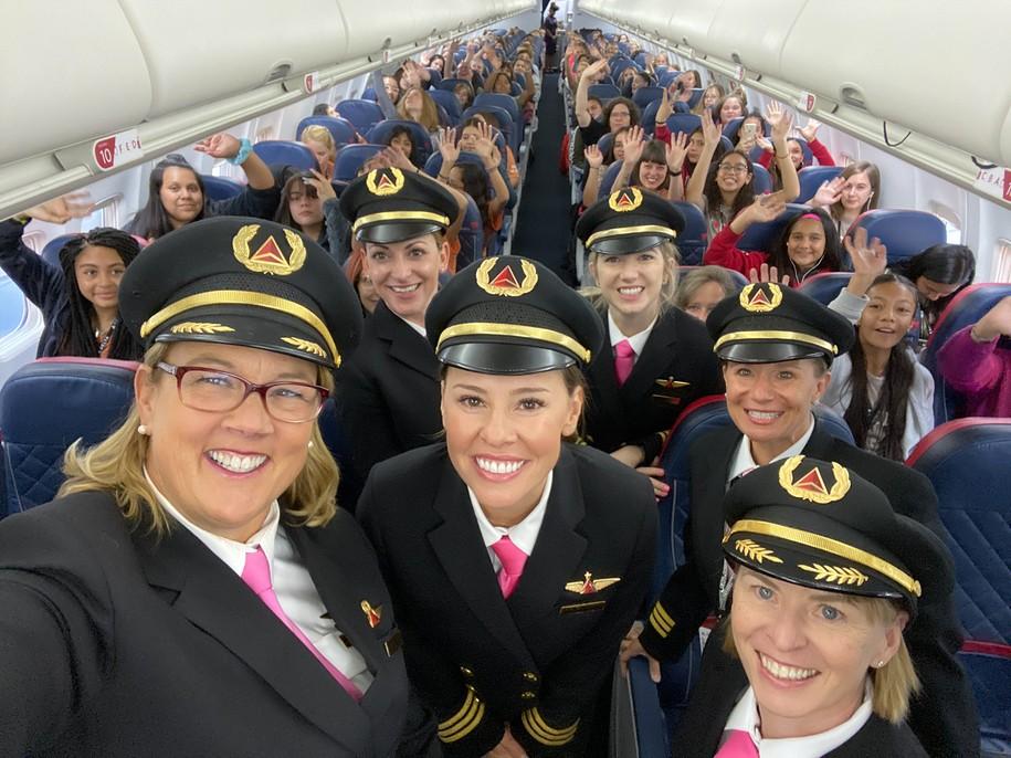 All-female crew flies 120 girls to NASA to celebrate International Girls in Aviation Day