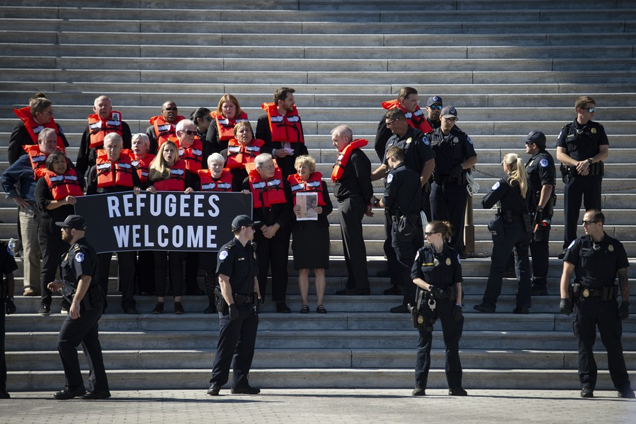 18 national leaders were arrested while protesting Trump admin's decimation of refugee program