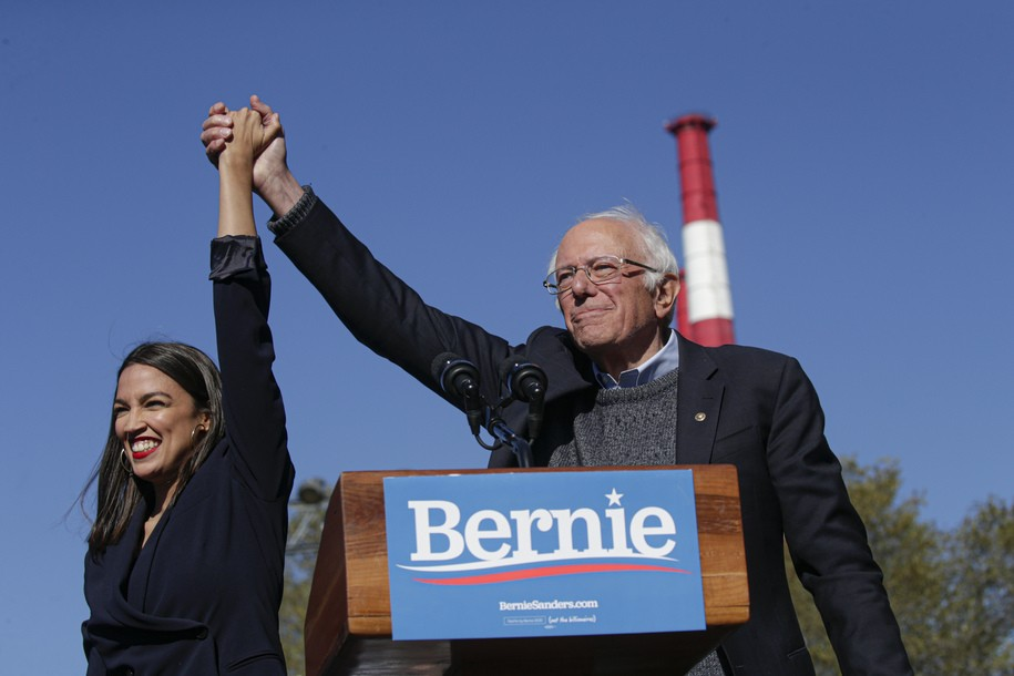 NEW YORK, NY - OCTOBER 19: Rep. Alexandria Ocasio-Cortez (D-NY) endorses Democratic presidential candidate, Sen. Bernie Sanders (I-VT) at a campaign rally in Queensbridge Park on October 19, 2019 in the Queens borough of New York City. This is Sanders' first rally since he paused his campaign for the nomination due to health problems. (Photo by Kena Betancur/Getty Images)