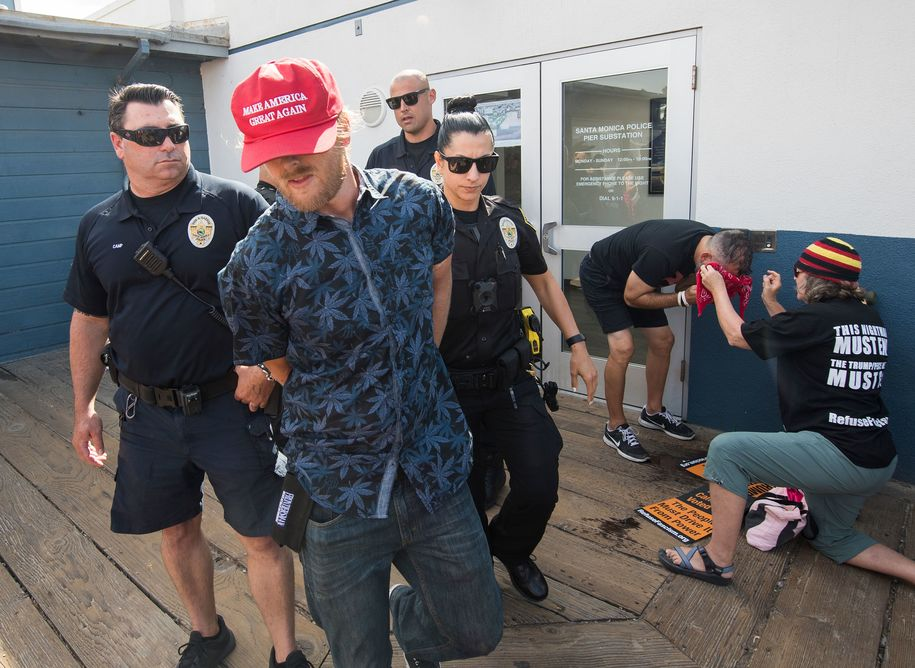 Man arrested for spraying bear repellent in crowd of anti-Trump protesters on Santa Monica pier