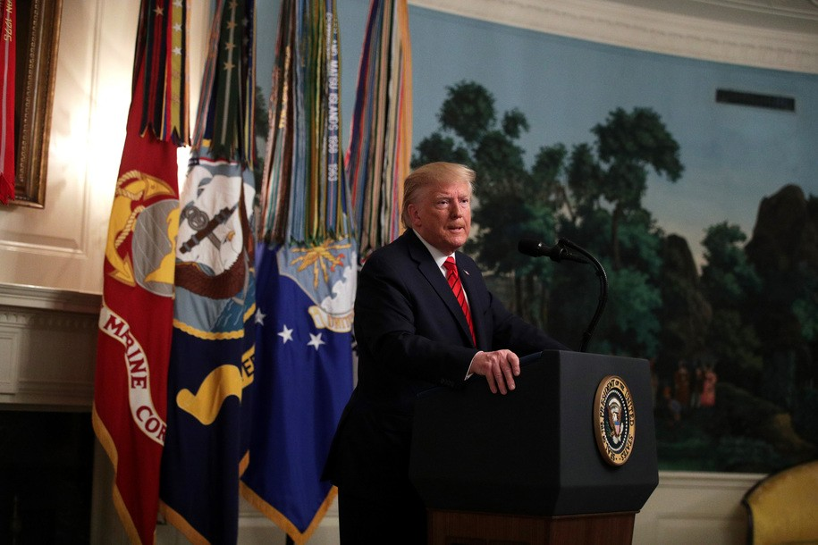 WASHINGTON, DC - OCTOBER 27:  U.S. President Donald Trump makes a statement in the Diplomatic Reception Room of the White House October 27, 2019 in Washington, DC. President Trump announced that ISIS leader Abu Bakr al-Baghdadi has been killed in a military operation in northwest Syria.  (Photo by Alex Wong/Getty Images)