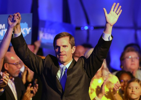 LOUISVILLE, KY - NOVEMBER 05:  Apparent Gov.-elect Andy Beshear celebrates with supporters after voting results showed the Democrat holding a slim lead over Republican Gov. Matt Bevin at C2 Event Venue on November 5, 2019 in Louisville, Kentucky. Bevin, who enjoyed strong support from President Donald Trump, did not concede after results showed Beshear leading 49.2 percent to 48.8 percent, a difference of less than 6,000 votes, with 100 percent of precincts reporting.  (Photo by John Sommers II/Getty Images)