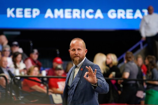 LEXINGTON, KY - NOVEMBER 04: Brad Parscale, campaign manager for U.S. President Donald Trump, gestures to the crowd at a campaign rally for the president on November 4, 2019 in Lexington, Kentucky. The president was visiting Kentucky the day before Election Day in support of Republican Gov. Matt Bevin. (Photo by Bryan Woolston/Getty Images)