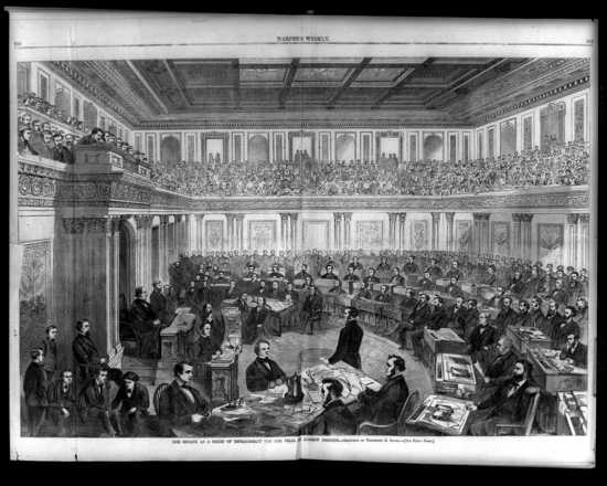 Harper's Weekly illustration of the trial of Andrew Johnson before the US Senate.