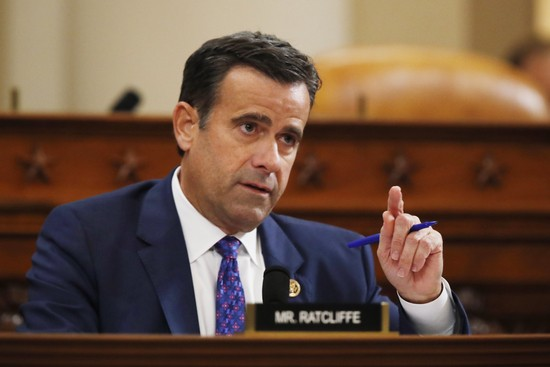 Rep. John Ratcliffe, R-Texas, speaks during a hearing with top U.S. diplomat in Ukraine William Taylor, and career Foreign Service officer George Kent, before the House Intelligence Committee on Capitol Hill in Washington, Wednesday, Nov. 13, 2019, during the first public impeachment hearing of President Donald Trump's efforts to tie U.S. aid for Ukraine to investigations of his political opponents. (AP Photo/Alex Brandon)