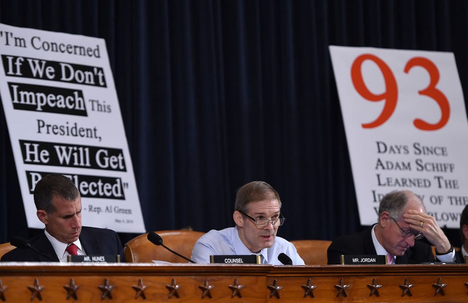 Representative Jim Jordan(C), R-OH speaks during the House Intelligence Committee on Capitol Hill in Washington, DC on November 13, 2019, at the first public impeachment hearing of President Donald Trump's efforts to tie US aid for Ukraine to investigations of his political opponents. - Donald Trump faces the most perilous challenge of his three-year presidency as public hearings convened as part of the impeachment probe against him open under the glare of television cameras on Wednesday. (Photo by Olivier Douliery / AFP) (Photo by OLIVIER DOULIERY/AFP via Getty Images)