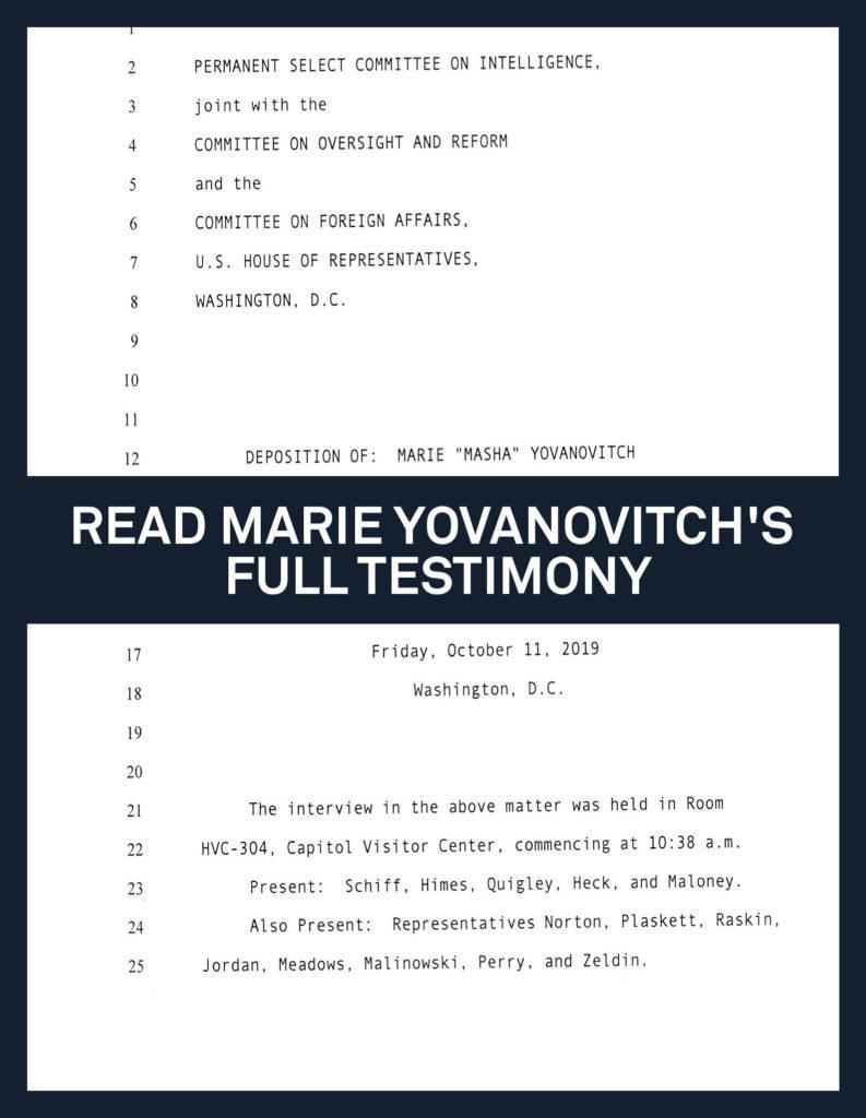 Amb. to Ukraine Marie Yovanovitch testifies tomorrow morning - deposition link is here