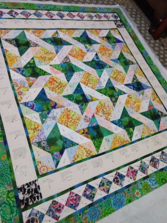 Dixiecollie's quilt, pin basted