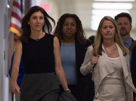 """Lisa Page, former legal counsel to former FBI Director Andrew Mc Cabe, arrives on Capitol Hill July 13, 2018 to provide closed-door testimony about the texts critical of Donald Trump that she exchanged with her FBI agent lover during the 2016 presidential campaign. - Republicans accuse the pair, Lisa Page and Peter Strzok, of deep anti-Trump bias as they helped conduct investigations of both Hillary Clinton and the candidate who would eventually become the US president. Page -- whose affair with Strzok has led Trump to dub them the """"FBI lovers"""" -- struck a deal with the House Judiciary Committee to testify privately after months of attempts to haul her before Congress, including defying a subpoena to testify publicly this week. (Photo by ANDREW CABALLERO-REYNOLDS / AFP) / The erroneous mention appearing in the metadata of this photo by ANDREW CABALLERO-REYNOLDS has been modified in AFP systems in the following manner: [Lisa Page] instead of [Linda Page]. Please immediately remove the erroneous mention from all your online services and delete it from your servers. If you have been authorized by AFP to distribute it to third parties, please ensure that the same actions are carried out by them. Failure to promptly comply with these instructions will entail liability on your part for any continued or post notification usage. Therefore we thank you very much for all your attention and prompt action. We are sorry for the inconvenience this notification may cause and remain at your disposal for any further information you may require.        (Photo credit should read ANDREW CABALLERO-REYNOLDS/AFP via Getty Images)"""