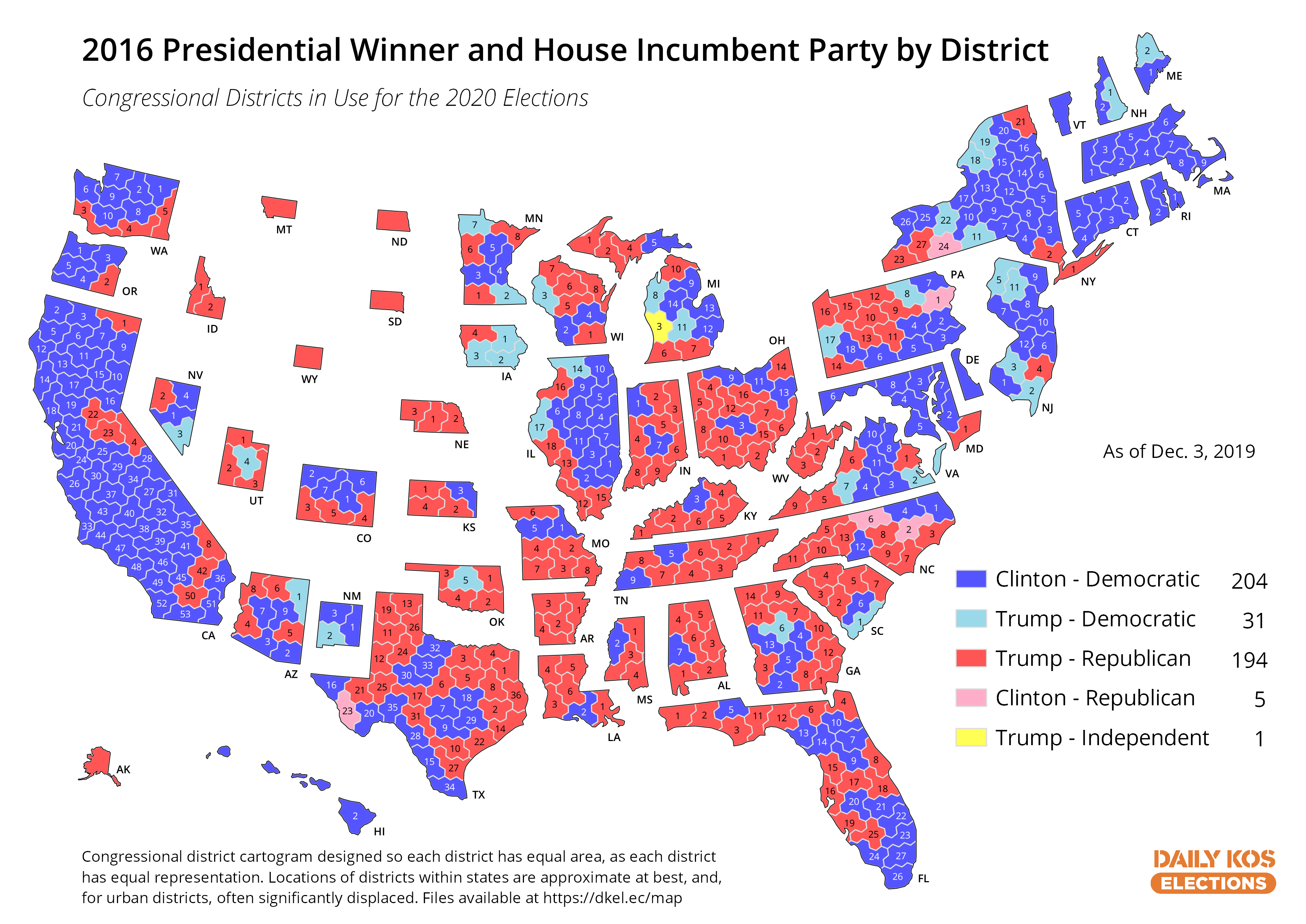 Daily Kos Elections\' presidential results by congressional ...