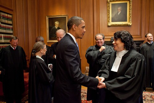 President Barack Obama talks with Justice Sotomayor prior to her Investiture Ceremony at the Supreme Court September 8, 2009.  (Official White House Photo by Pete Souza)  This official White House photograph is being made available only for publication by news organizations and/or for personal use printing by the subject(s) of the photograph. The photograph may not be manipulated in any way and may not be used in commercial or political materials, advertisements, emails, products, promotions that in any way suggests approval or endorsement of the President, the First Family, or the White House.