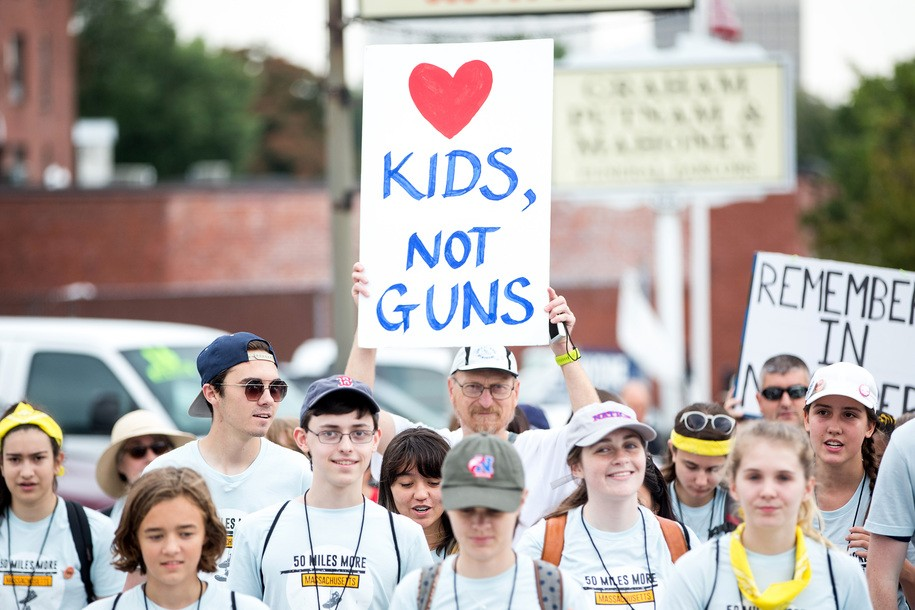 WORCESTER, MA - AUGUST 23: Parkland Shooting survivor and activist David Hogg, third from left, walks during the 50 Miles More walk against gun violence which will end with a protest at the Smith and Wesson Firearms factory on August 23, 2018 in Worcester, Massachusetts. After the Parkland, Florida mass shooting, 50 Miles More was organized to engage young people in the effort to bring about gun reform legislation. (Photo by Scott Eisen/Getty Images)