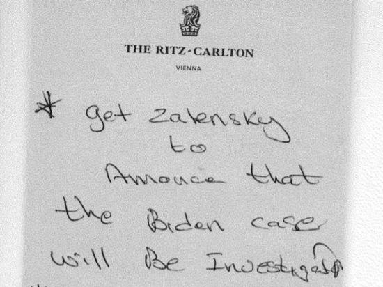 """A handwritten note by Rudy Giuliani associate Lev Parnas lists his tasks, starting with getting Ukraine's new president to announce an investigation into """"the Biden case.�"""
