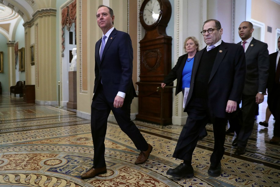WASHINGTON, DC - JANUARY 21: (L-R) Rep. Adam Schiff (D-CA), Rep. Zoe Lofgren (D-CA), Rep. Jerrold Nadler (D-NY) and Rep. Hakeem Jeffries (D-NY) head toward the Senate Chamber before the start of President Donald Trump's impeachment trial at the U.S. Capitol January 21, 2020 in Washington, DC. Senators will vote Tuesday on the rules for the impeachment trial, which is expected to last three to five weeks. (Photo by Chip Somodevilla/Getty Images)