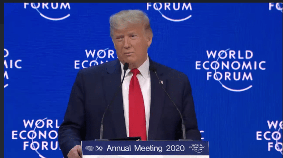 Donald Trump in Davos for World Ecnomic Forum, 2020