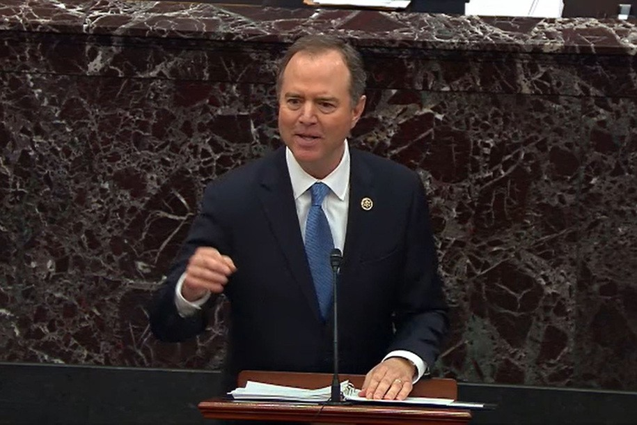 WASHINGTON, DC - JANUARY 23: In this screenshot taken from a Senate Television webcast, House impeachment manager Rep. Adam Schiff (D-CA) speaks during impeachment proceedings against U.S. President Donald Trump in the Senate at the U.S. Capitol on January 23, 2020 in Washington, DC. (Photo by Senate Television via Getty Images)