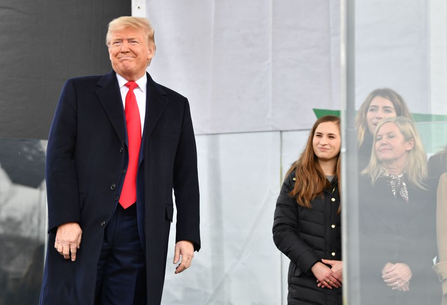 "US President Donald Trump arrives to speak at the 47th annual ""March for Life"" in Washington, DC, on January 24, 2020. - Trump is the first US president to address in person the country's biggest annual gathering of anti-abortion campaigners. (Photo by Nicholas Kamm / AFP) (Photo by NICHOLAS KAMM/AFP via Getty Images)"