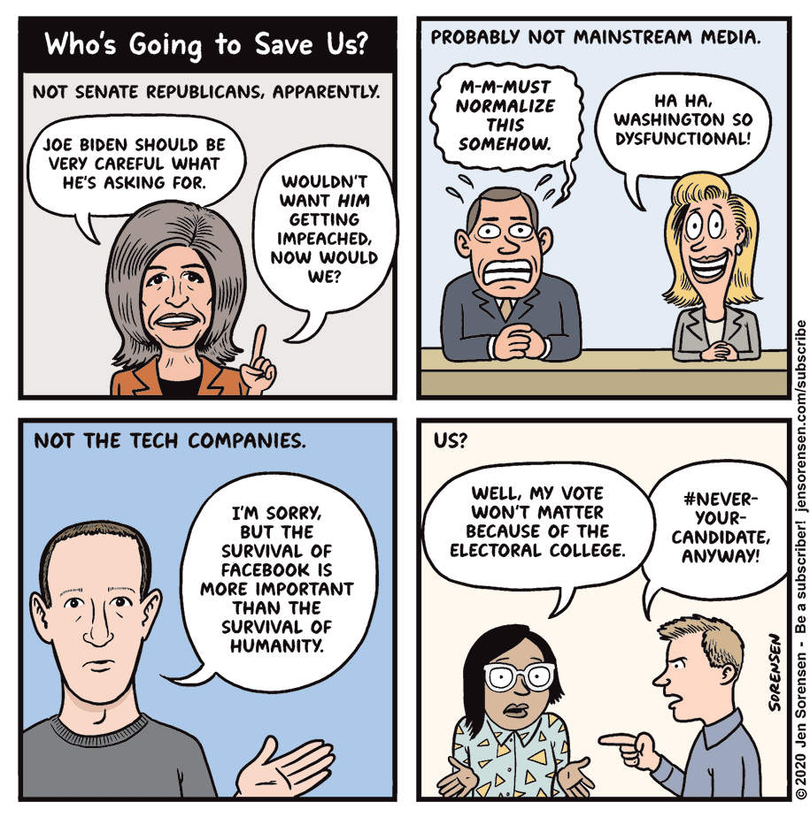 Cartoon: Who's going to save us?