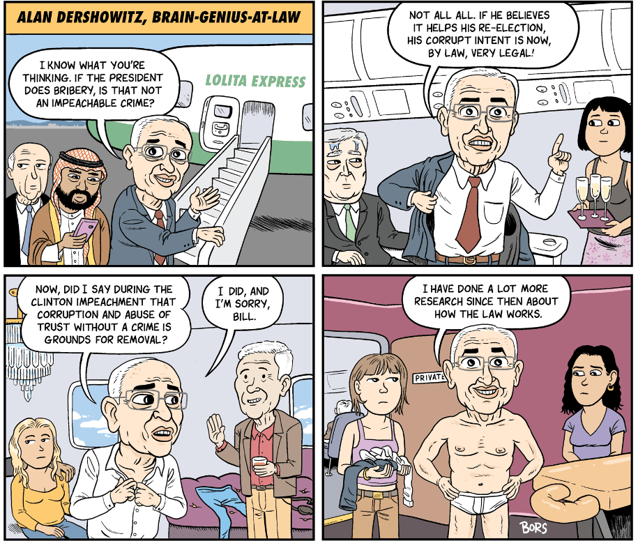 Cartoon: Alan Dershowitz, Brain-Genius-At-Law
