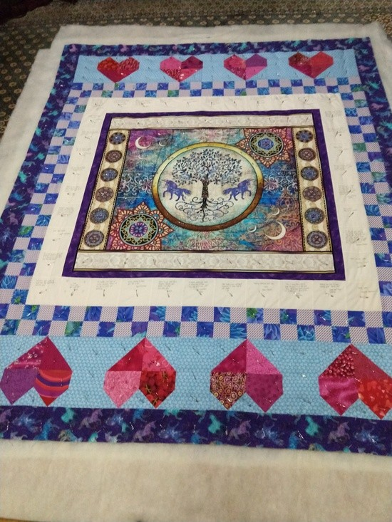 Robin's quilt, pin basted
