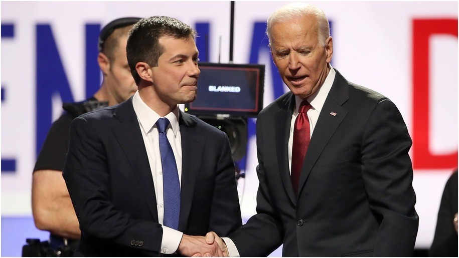 South Bend, Indiana Mayor Pete Buttigieg and former Vice President Joe Biden shake hands after the Democratic Presidential Debate at Otterbein University on October 15, 2019 in Westerville, Ohio. A record 12 presidential hopefuls are participating in the debate hosted by CNN and The New York Times.
