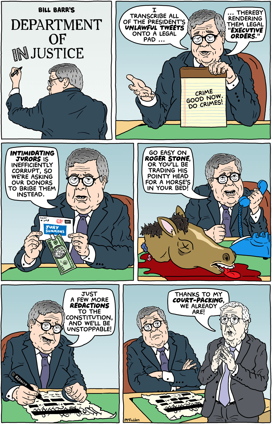 Cartoon: Bill Barr's department of injustice