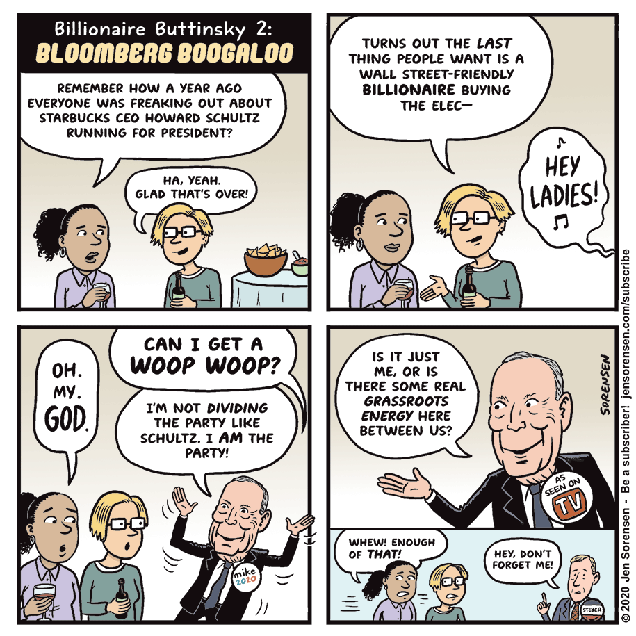 Cartoon: Billionaire buttinsky 2: Bloomberg boogaloo