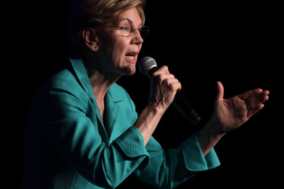 LAS VEGAS, NEVADA - FEBRUARY 15:  Democratic presidential candidate Sen. Elizabeth Warren (D-MA) speaks during the Clark County Democrats Kick Off to Caucus Gala at Tropicana Las Vegas February 15, 2020 in Las Vegas, Nevada. The first time in the history, Nevadans have the option to vote early in the Democratic presidential caucuses that starts from today through the 18th, prior to the February 22nd caucus date.  (Photo by Alex Wong/Getty Images)