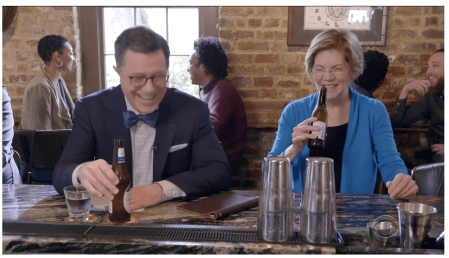We did a spit-take watching Sen. Elizabeth Warren play 'Guess the billionaire' with Stephen Colbert