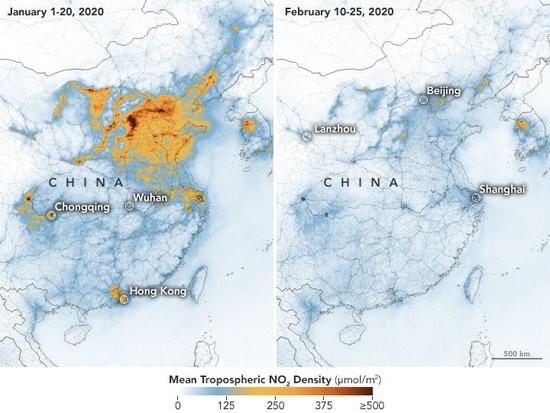 Emissions in Eastern China: Jan, 2020 - Feb, 2020