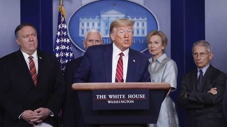 U.S. President Donald Trump speaks during a Coronavirus Task Force news conference in the briefing room of the White House in Washington, D.C., U.S., on Friday, March 20, 2020. Americans will have to practice social distancing for at least several more weeks to mitigate U.S. cases of Covid-19, Anthony S. Fauci of the National Institutes of Health said today. Photographer: Al Drago/Bloomberg via Getty Images
