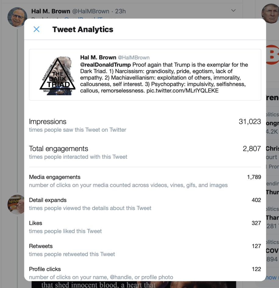 Say what you may about tweeting, I replied to a Trump tweet and over 31,000 people saw it.