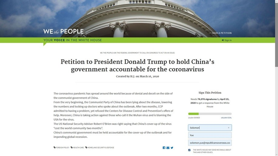not April Fools joke: Polish freedom fighters launch WH petition to blame China for COVID 19