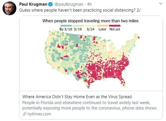 Krugman tweet on travel during COVID-19