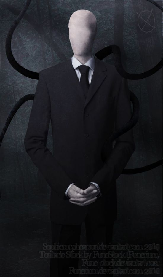"""The Slender Man (also spelled Slenderman) is a fictional supernatural character that originated as a creepypasta Internet meme created by Something Awful forums user Eric Knudsen (also known as """"Victor Surge"""") in 2009.[1] He is depicted as a thin, unnaturally tall humanoid with a featureless head and face and wearing a black suit."""