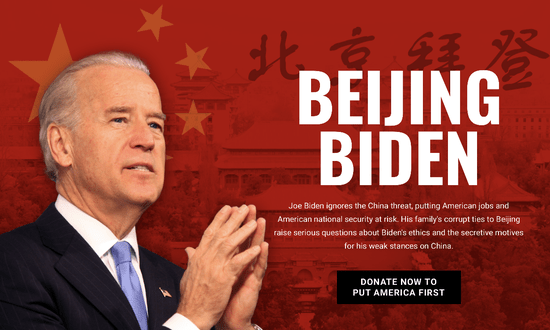 """America First Action PAC: Unleashes Beijing Biden Ads in WI, MI and PA America First Action PAC will start a $10 million independent expenditure investment in Pennsylvania, Michigan and Wisconsin focused on #BeijingBiden. The digital, cable, broadcast and mail investment will start April 17th and continue until the end of May.  Michigan: $2 million spent in the Traverse City, Flint and Grand Rapids media markets Wisconsin: $2.7 million spent in the Wausau, La Crosse and Green Bay media markets Pennsylvania: $5.5 million spent in the Pittsburgh, Harrisburg, Johnstown, Erie and Wilkes-Barre media markets """"At a critical time when China has infected the world, it's important Americans understand that Joe Biden has spent over forty-years catering to China's wishes. He's a pro-China globalist running for President promising to fix the problems he helped create."""" – Brian O. Walsh, President of America First Action PAC"""