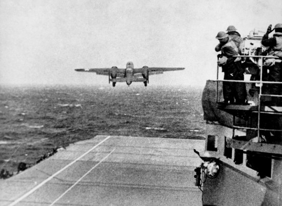 April 18, 1942: An Army Air Force B-25 lumbers off the deck of Hornet CV-8, bound for an audacious raid on the Japanese home islands.