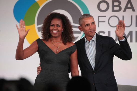 CHICAGO, ILLINOIS - OCTOBER 29: Former U.S. President Barack Obama and his wife Michelle close the Obama Foundation Summit together on the campus of the Illinois Institute of Technology on October 29, 2019 in Chicago, Illinois. The Summit is an annual event hosted by the Obama Foundation. (Photo by Scott Olson/Getty Images)