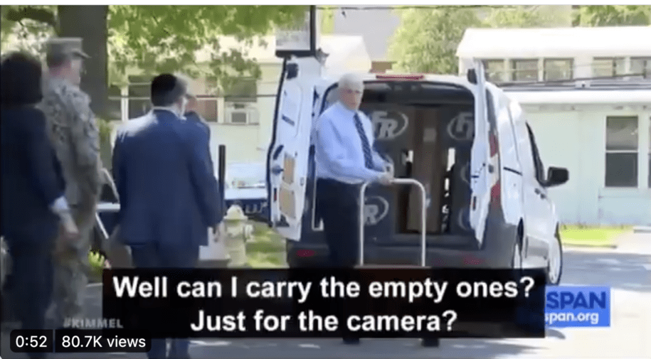 Mike Pence delivers empty boxes to a nursing home