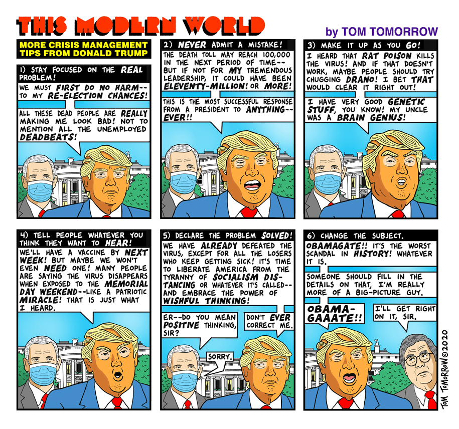 Title:  More Crisis Management Tip from Donald Trump.  Frame One, captioned