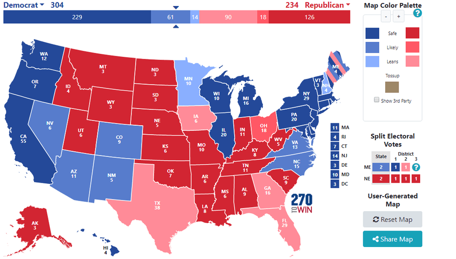 Trump Losing in a Landslide - Electoral College Projections