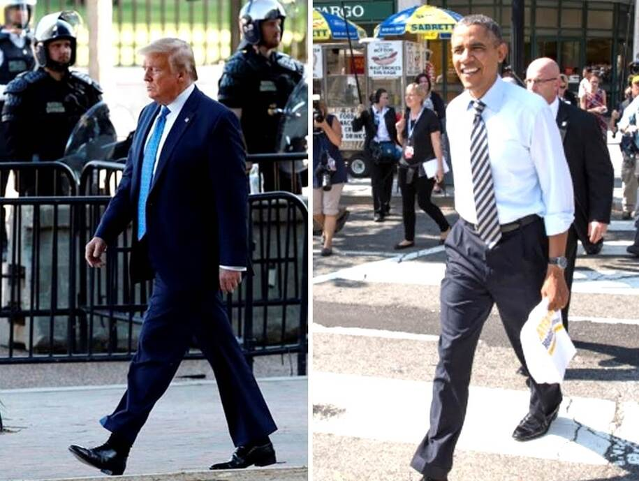 Presidential walks - trump vs Obama
