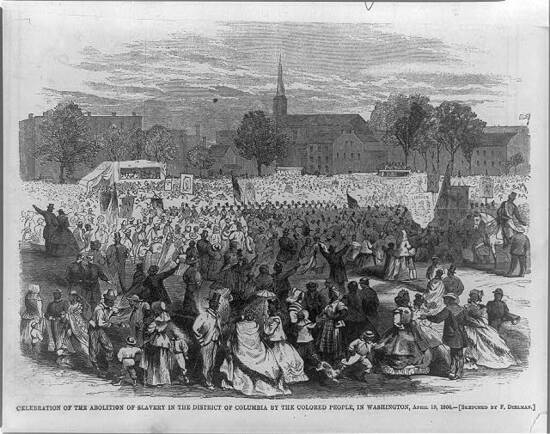 Celebration of the Abolition of Slavery in the District of Columbia by the Colored in Washington, April 19, 1866 / sketched by F. Dielman. Image in: Harper