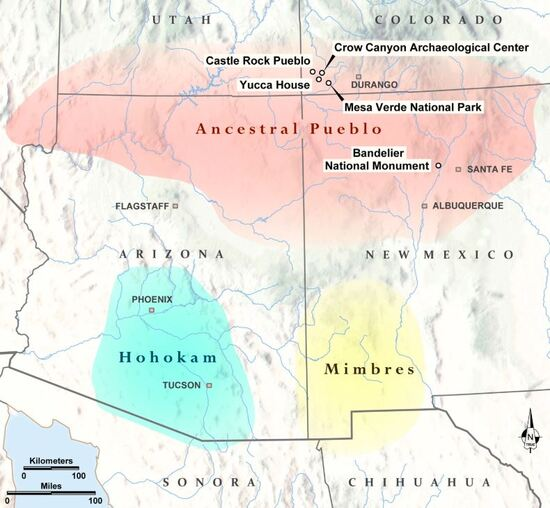 Where the Mimbres and Ancestral Pueblo cultures were located