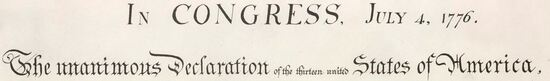 The heading of the Declaration of Independence